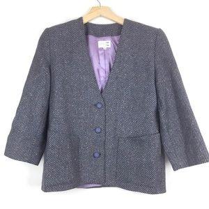 3/$25 Vintage wool blazer boxy purple grey 80s 90s